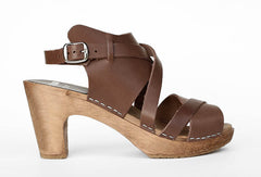 FUNKIS 439 Ulla Clog Super High, Cappuccino with Brown Base
