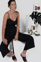 Woodchip Jumpsuit - Black Linen