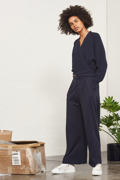 BUILDING BLOCK - Wide Leg Pant - Navy