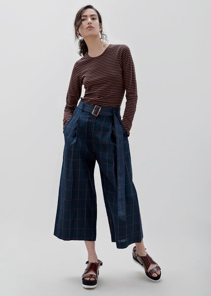 LUNA PANT - Navy/Orange check