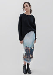 Aster Pencil Skirt- Stallion Print