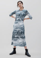 Boardwalk TShirt Dress - Etching Print
