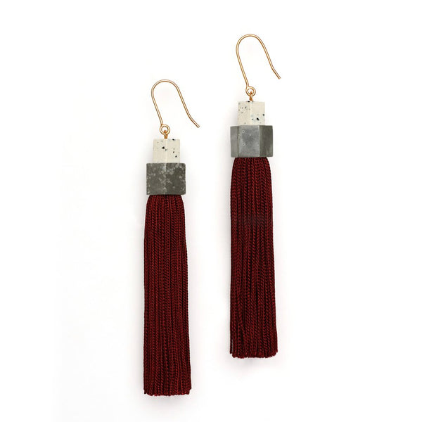 Studio Elke Pendulum Tassel Earrings - Burgundy