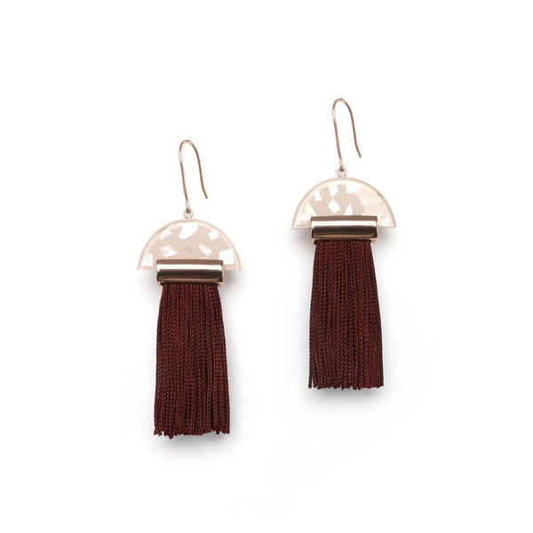 Studio Elke Gravity Tassel Earrings - Musk Fleck