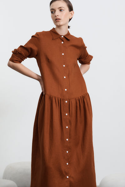 Studio Shirt Dress Long Sleeved - Toffee PRE -ORDER Delivery June 16th