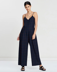 Woodchip Jumpsuit - Navy/ Orange check