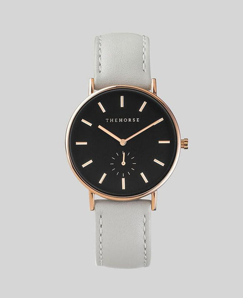 The Horse Watch Classic Rose Gold/ Black Face/ Grey Leather