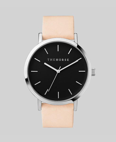 The Horse Watch Original Polished Steel / Black Face / Vegetable Tan