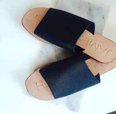 Leather Pool Slides -Black on Natural