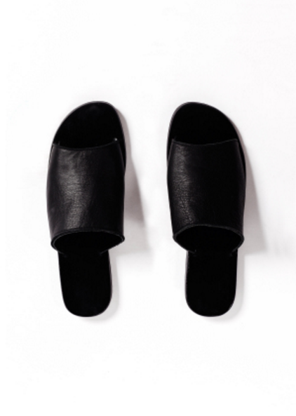 Leather Pool Slides - Black
