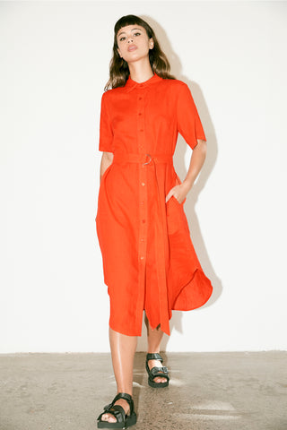 Campus Shirt Dress - Tangello