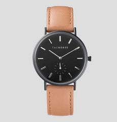 The Horse Watch Classic - Matte Black / Tan Leather