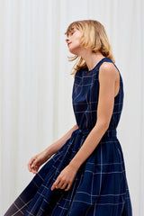 ECHO DRESS - Navy Check