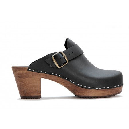 FUNKIS 964 high plain buckle Black w/ brown base