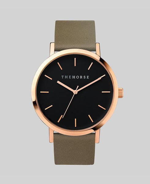 The Horse Watch Original Polished Rose Gold / Black Face / Olive Band