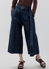 LUNA PANT - Navy/Orange check PRE ORDER Delivery May 1st