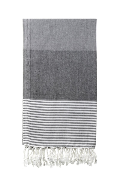 Hammamas Cotton Towel - Block Stripe Charcoal