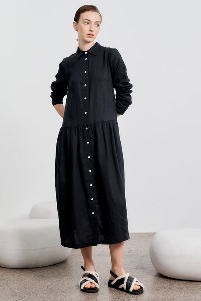 Studio Dress Long Sleeve - Black Linen PRE ORDER- Delivery MAY 12