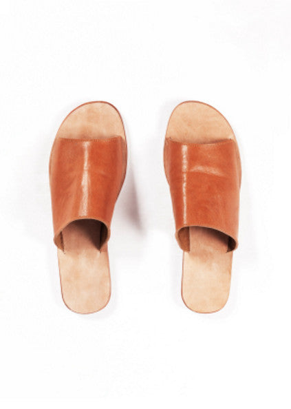 Leather Pool Slides -Tan