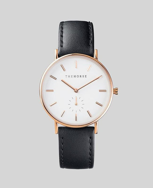 The Horse Watch Classic Rose Gold/ Black Leather