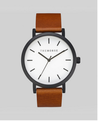 The Horse Watch Original - Matte Black / White Face / Tan Leather