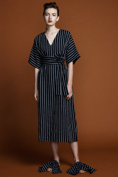 Kyoto Dress - Navy Pinstripe