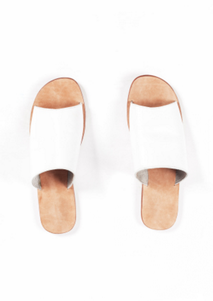 Leather Pool Slides- White