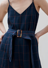 Woodchip Jumpsuit - Navy/ Orange check PRE-ORDER  Delivery mid May