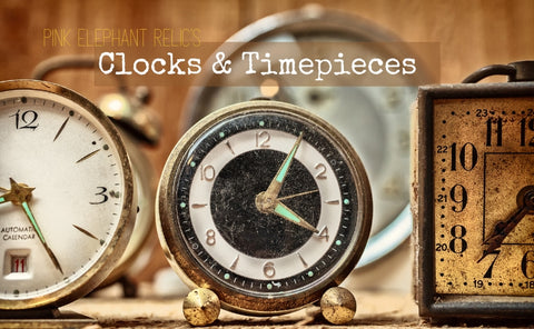 Shop for fabulous vintage clocks for decor and home staging at Pink Elephant Relics.