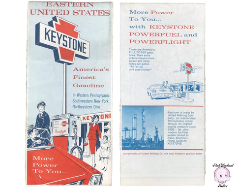 Real Vintage 1960's US Road Map by Keystone Gasoline - New Original 1968 Truck Stop Gas Station Maps for Prop Staging & Retro Travel Decor