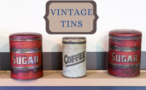 Vintage collectible product tins from early to mid 19th century.