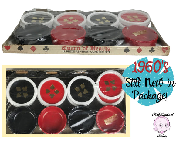 1960's Queen of Hearts 12 pc Ashtray & Coaster Set in Black, Red, and white w/ Gold Playing Card Suit Inlay for Bridge or Poker Game Night
