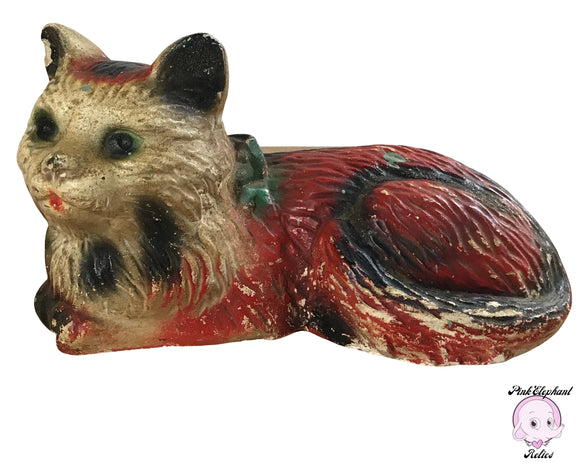 1930s Carnival Chalkware Calico Cat Statue Game Prize - Large 10