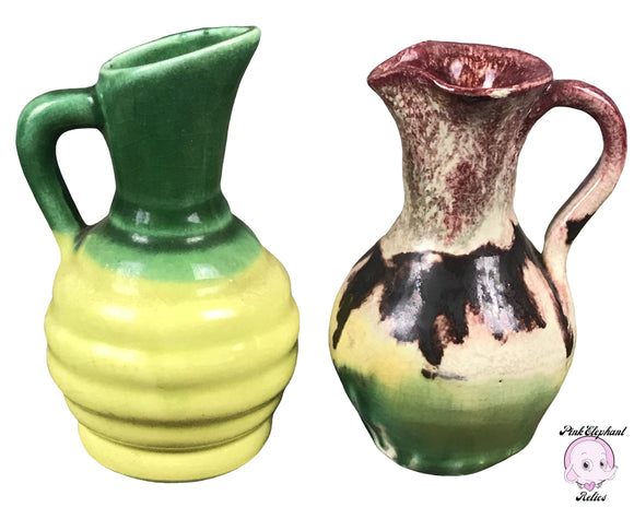 Pair of Miniature Vintage 60's Era Studio Pottery Cruets in Funky Green Hombre Drip Glaze for Oil & Vinegar Decanting or Retro Chic Decor