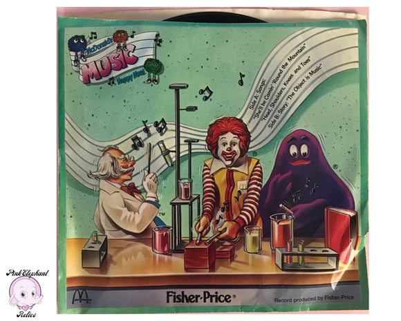 Rare 1985 Fisher Price McDonald's Happy Meal Toy 33 1/3 RPM Vinyl Record in Sleeve Sung By McDonaldland Puppets - Cool 80's Kids Music Nostalgia