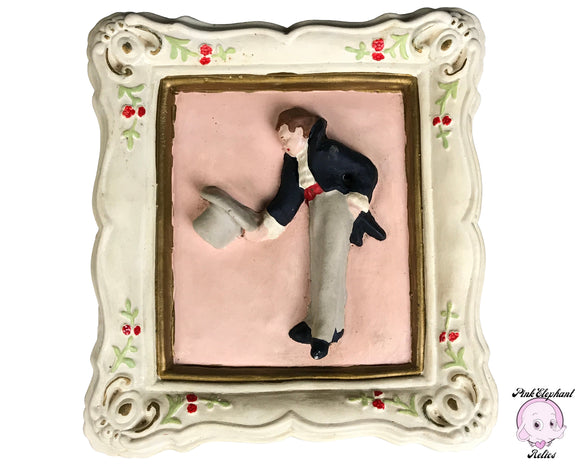 Kitschy Mid Century Raised Chalkware Wall Plaque of a Bowing Gentleman in Fancy Suit & Top Hat - Unique Retro Men's Restroom Door Sign Idea