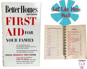 "1960's White ""First Aid For Your Family"" Better Homes and Gardens Spiral Bound Book - Mom's First Aid Kit & Medicine Cabinet Reference Books"