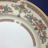 "Pair of Fancy English 8"" Dessert or Bread Plates by Aynsley of England in Devonshire Pattern - Bone China Dishes Ivory, Gold, & Rose Floral"