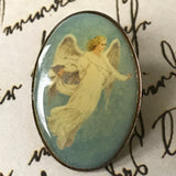 2 Vintage Angel Enamel Pins - Guardian Angels Lapel Pin - Hat Pin - Badge Pin Button - Gift for Christian Woman - Spiritual Broach - On Sale