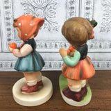 2 Vintage Adorable Little Alpine Girl Figurines with Geese & Oranges Ideal For 50's Kitschy Retro Decor or Farmhouse Nursery Shelf Staging