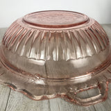 "1930's Pink Depression Glass 10"" Serving Bowl - Mayfair Open Rose Vegetable Dish by Anchor Hocking Glass - Blush Pink Wedding Dinner Decor"