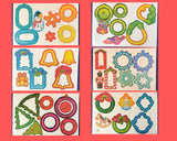 1979 Christmas Ornament Kit 6 Full Sheets of Diecut Card Paper Cutouts - Vintage Unused NOS Holiday Craft Ephemera - Retro Kitschy Ornaments