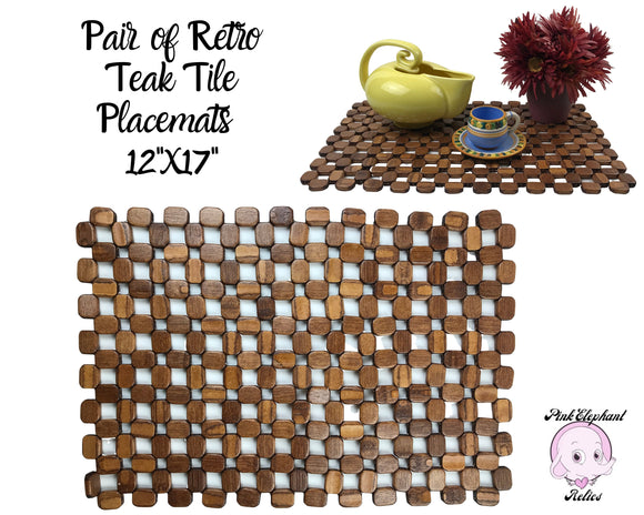 2 Vintage Teak Wood Tile Placemats - 12x17 Mid-Century Retro Wooden Slat Place Mat Pair - Danish Modern Plate Chargers Dinner Table Staging
