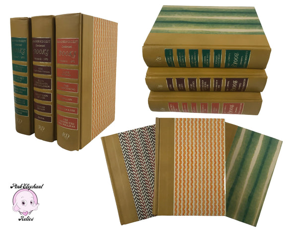 3 Funky Retro Hardcover Books from 1970 by Reader's Digest w/ Gold Spine Color Blocking & Vintage Stripe Patterns for Reading Library Decor