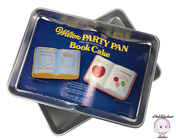 2 Wilton Open Book Cake Pans - Vintage Book Themed Party Cake Baking Molds - Librarian Teacher Birthday Cake / Graduation Sheet Cake Pan Set