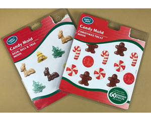 2 Sets of Christmas Themed Candy Molds by Make n' Mold - Miniature Holiday Chocolate Mold Forms - Reindeer, Trees, Gingerbread Man, Bells...