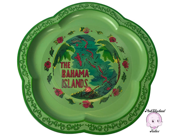 1960's Retro Green Cocktail Serving Tray from The Bahama Islands - Vintage Bahamas Barware Souvenir - Funky Lounge / Tropical Tiki Bar Decor