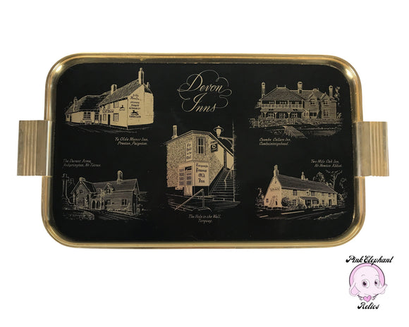 1950's Black & Gold Cocktail Serving Tray of Devon Inns - Rare 17