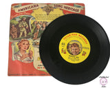 "2 Vintage 1950's Americana Song Heritage Series Wild Bill Hickock & Buffalo Bill Wild West Cowboy Themed 7"" Kids 45 rpm Records w/ Sleeves"