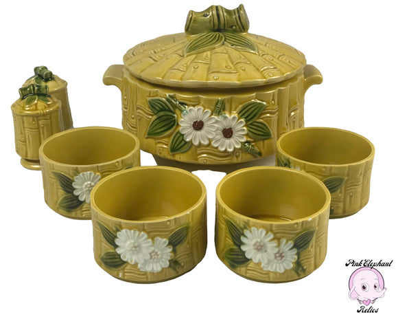 1960's Yellow Daisy and Bamboo Glazed Ceramic Lidded Tureen, 4 Rice or Miso Soup Bowls & Salt Pepper Shaker Set for Retro Asian Dining Room